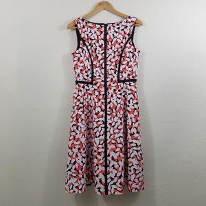 London Times White Orange Dress Size 8